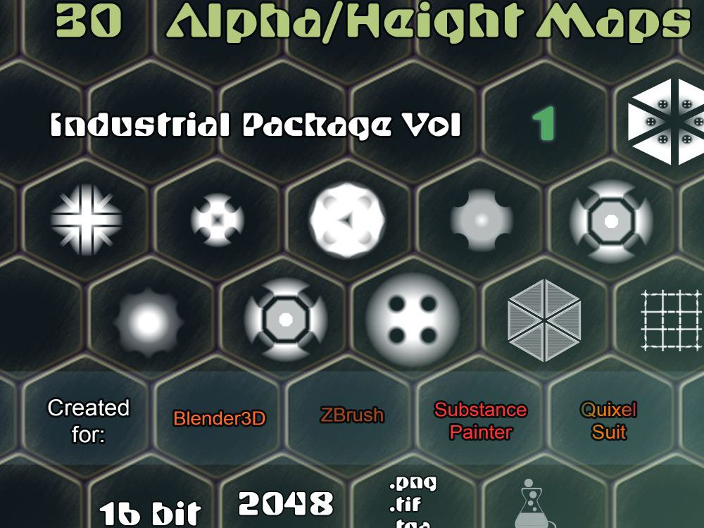 Free Resources: Industrial Alphas / Height Maps Vol1 - For